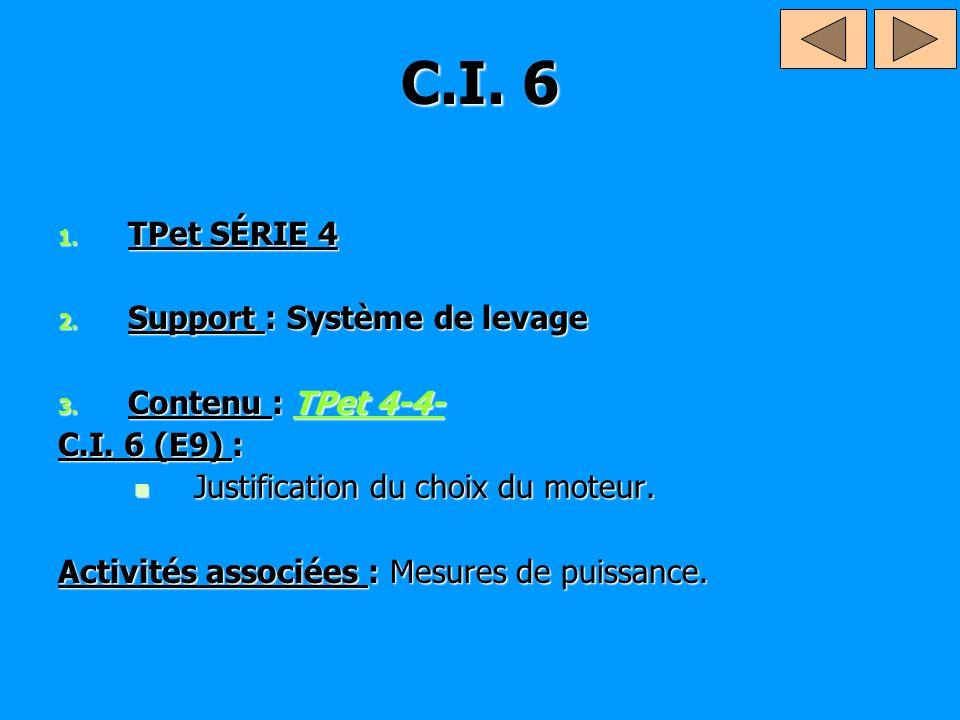 C.I. 6 TPet SÉRIE 4 Support : Système de levage Contenu : TPet 4-4-