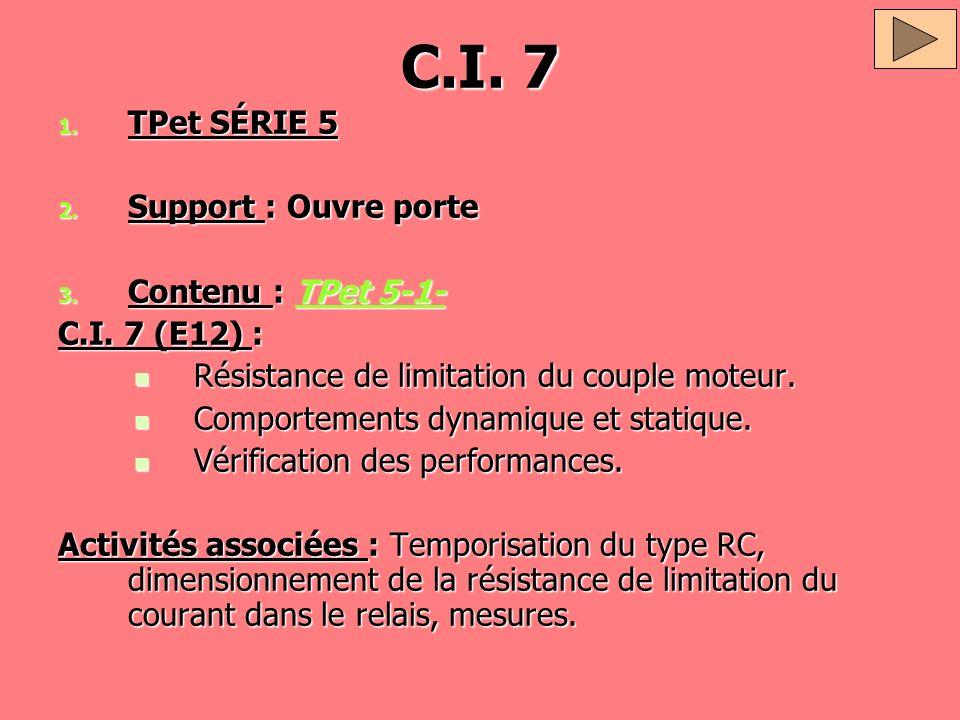 C.I. 7 TPet SÉRIE 5 Support : Ouvre porte Contenu : TPet 5-1-