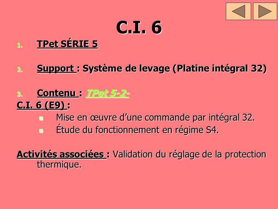 C.I. 6 TPet SÉRIE 5 Support : Système de levage (Platine intégral 32)