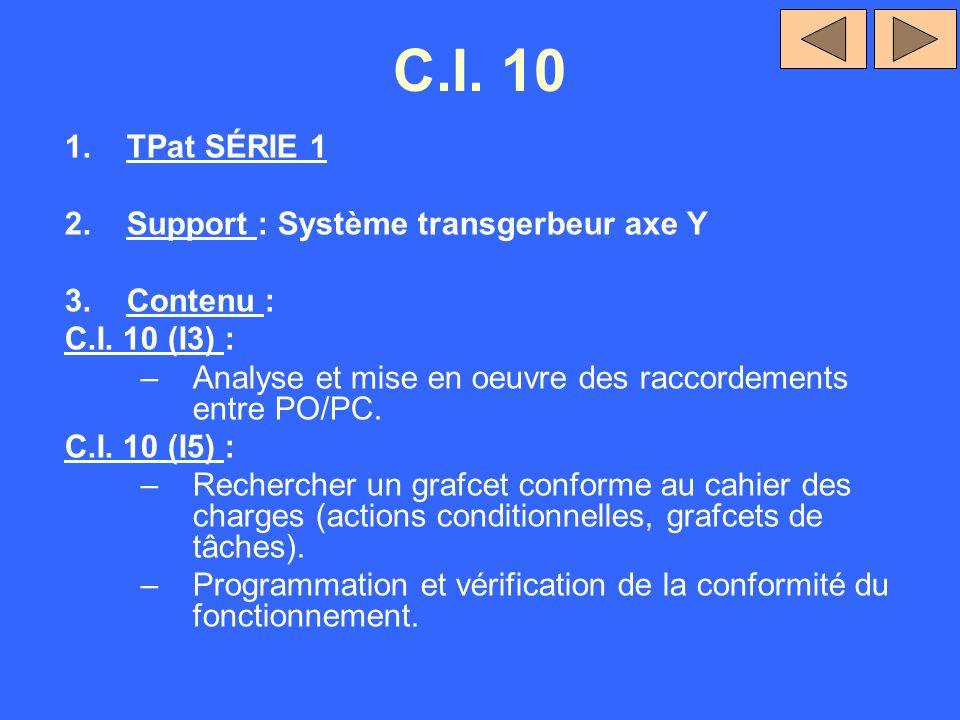 C.I. 10 TPat SÉRIE 1 Support : Système transgerbeur axe Y Contenu :