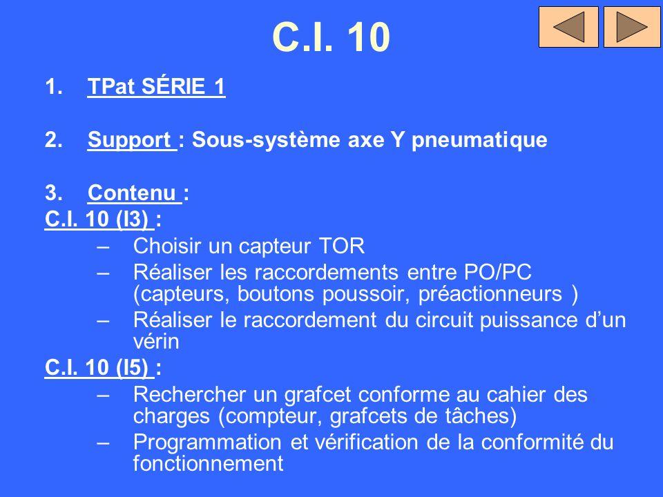 C.I. 10 TPat SÉRIE 1 Support : Sous-système axe Y pneumatique