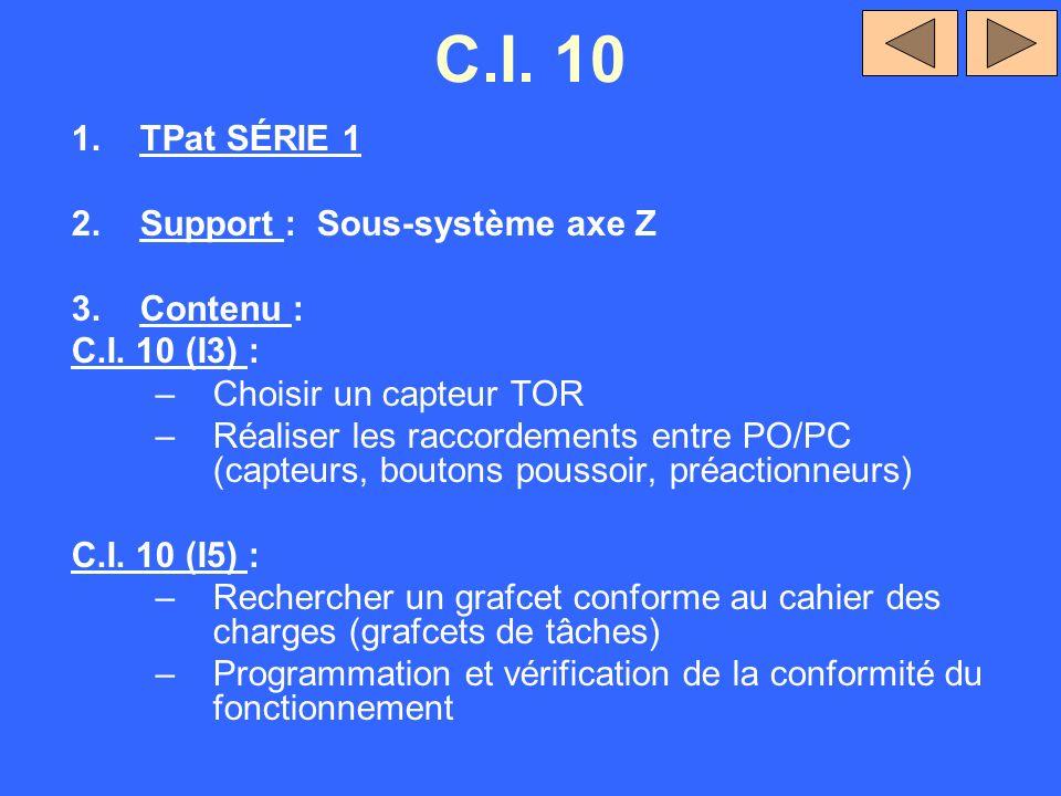C.I. 10 TPat SÉRIE 1 Support : Sous-système axe Z Contenu :