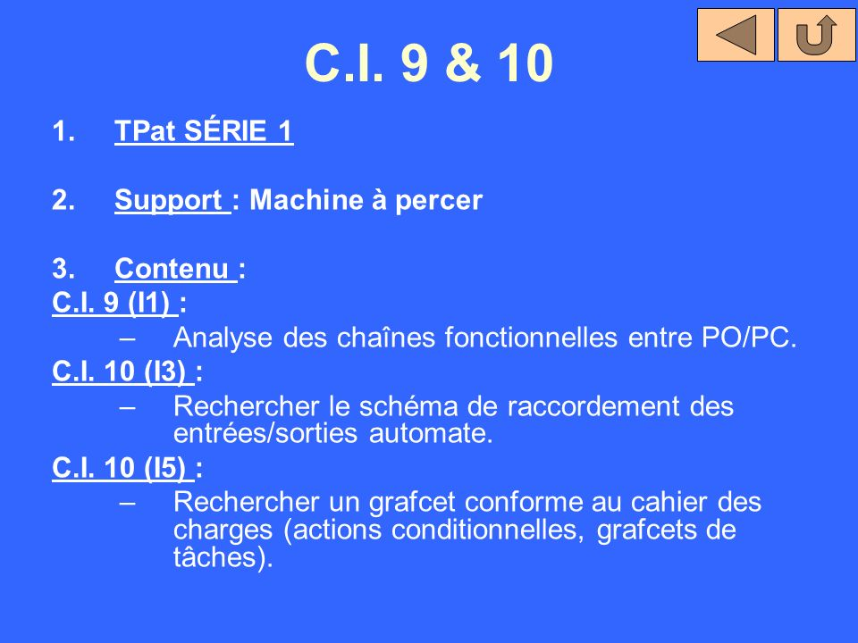 C.I. 9 & 10 TPat SÉRIE 1 Support : Machine à percer Contenu :