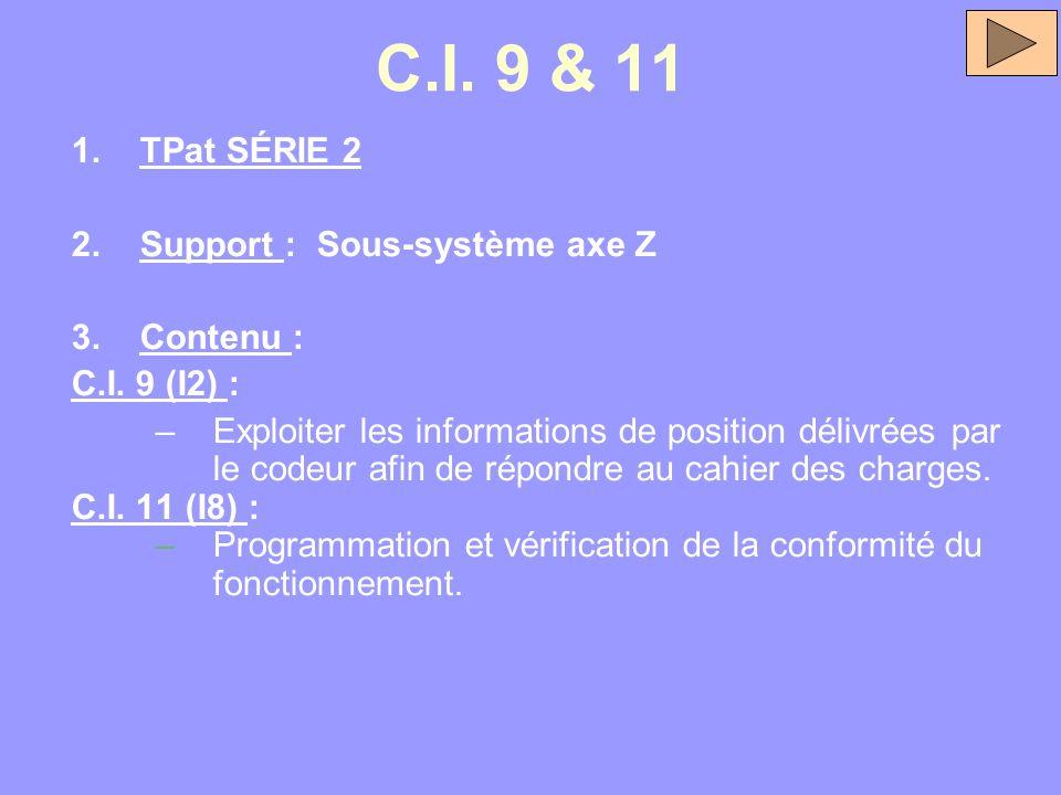 C.I. 9 & 11 TPat SÉRIE 2 Support : Sous-système axe Z Contenu :