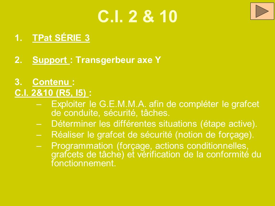 C.I. 2 & 10 TPat SÉRIE 3 Support : Transgerbeur axe Y Contenu :