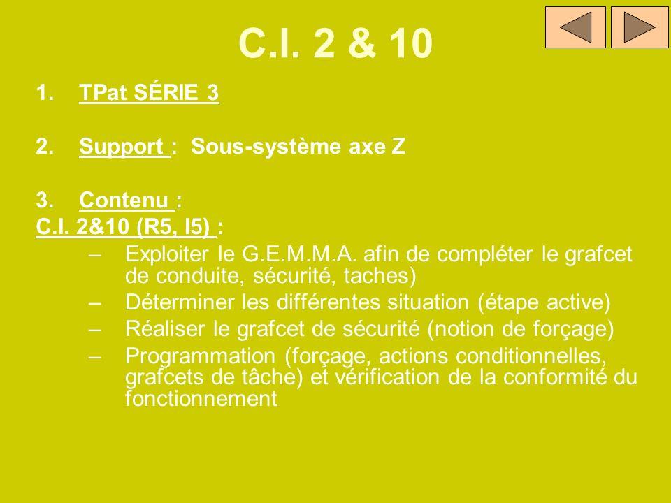 C.I. 2 & 10 TPat SÉRIE 3 Support : Sous-système axe Z Contenu :