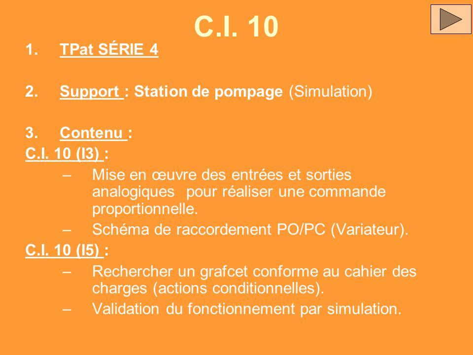 C.I. 10 TPat SÉRIE 4 Support : Station de pompage (Simulation)