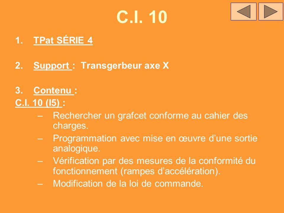 C.I. 10 TPat SÉRIE 4 Support : Transgerbeur axe X Contenu :