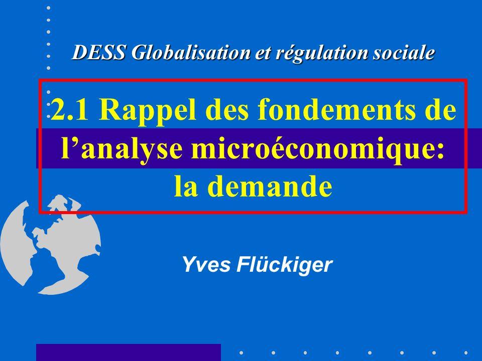 2.1 Rappel des fondements de l'analyse microéconomique: la demande