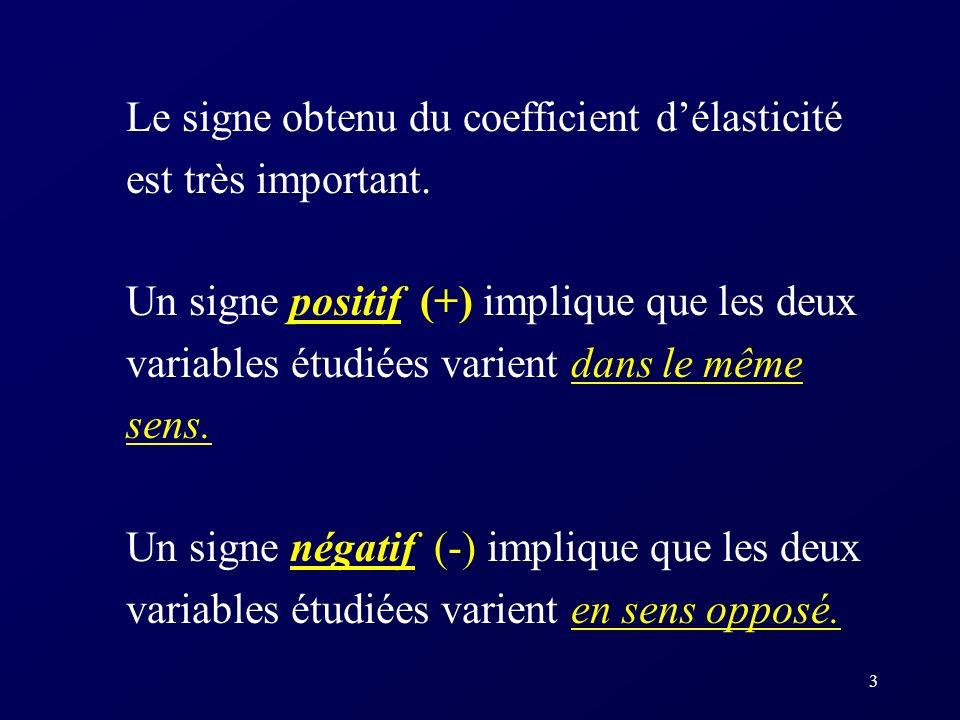 Le signe obtenu du coefficient d'élasticité est très important.