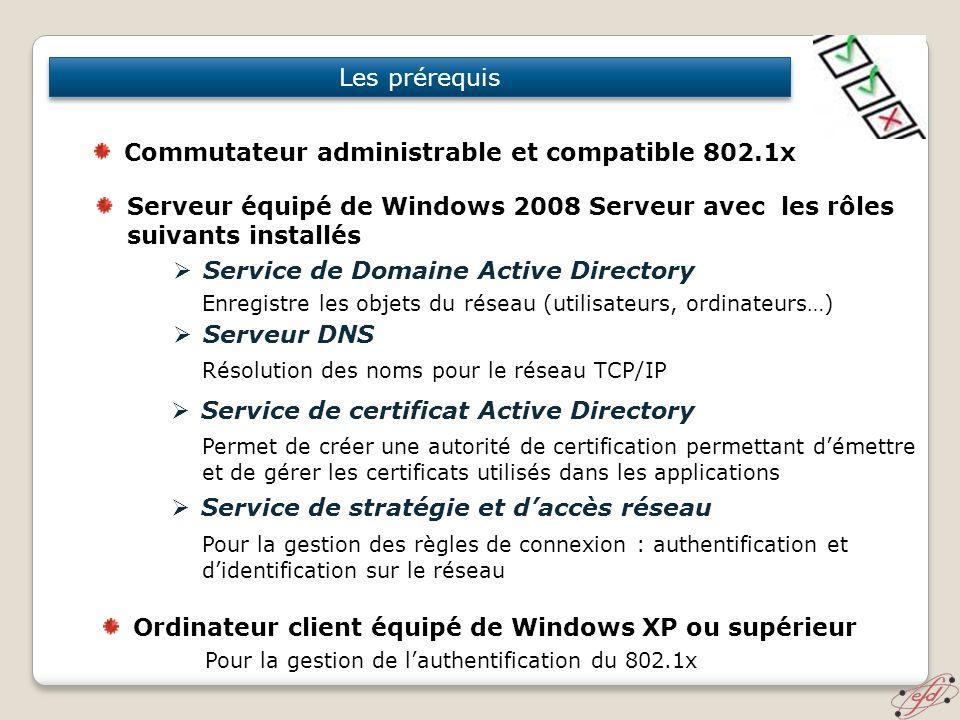 Commutateur administrable et compatible 802.1x
