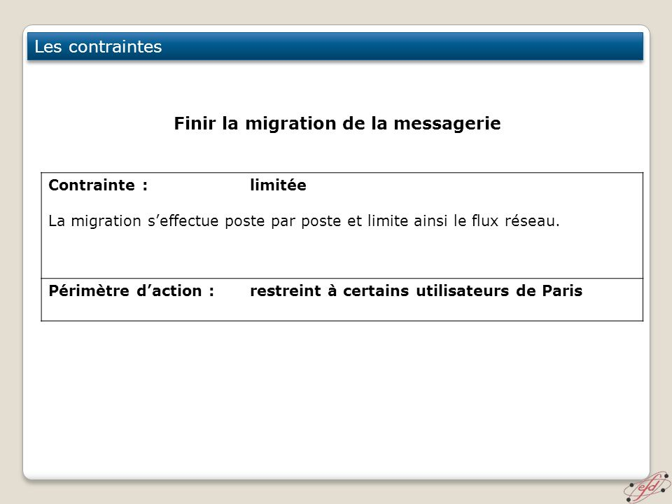 Finir la migration de la messagerie