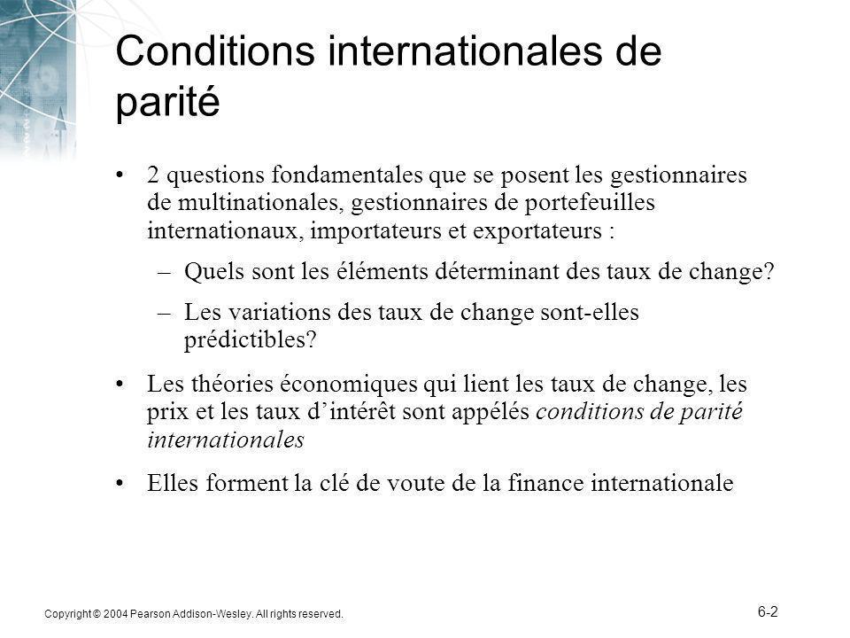 Conditions internationales de parité