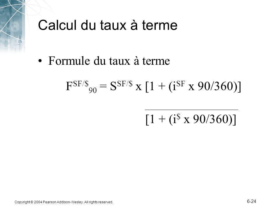 Calcul du taux à terme Formule du taux à terme
