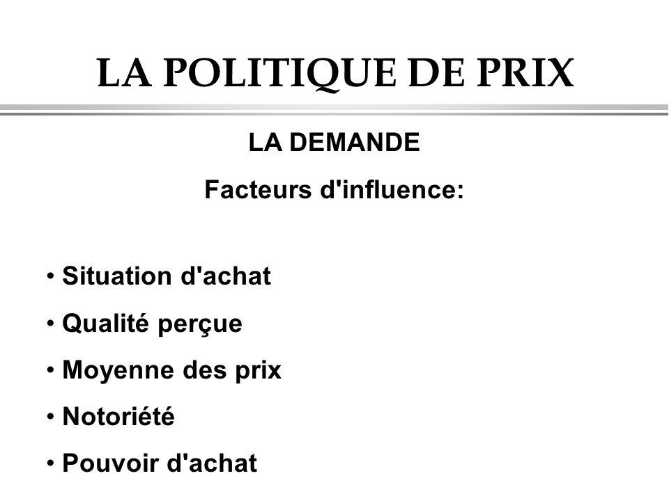 LA POLITIQUE DE PRIX LA DEMANDE Facteurs d influence: