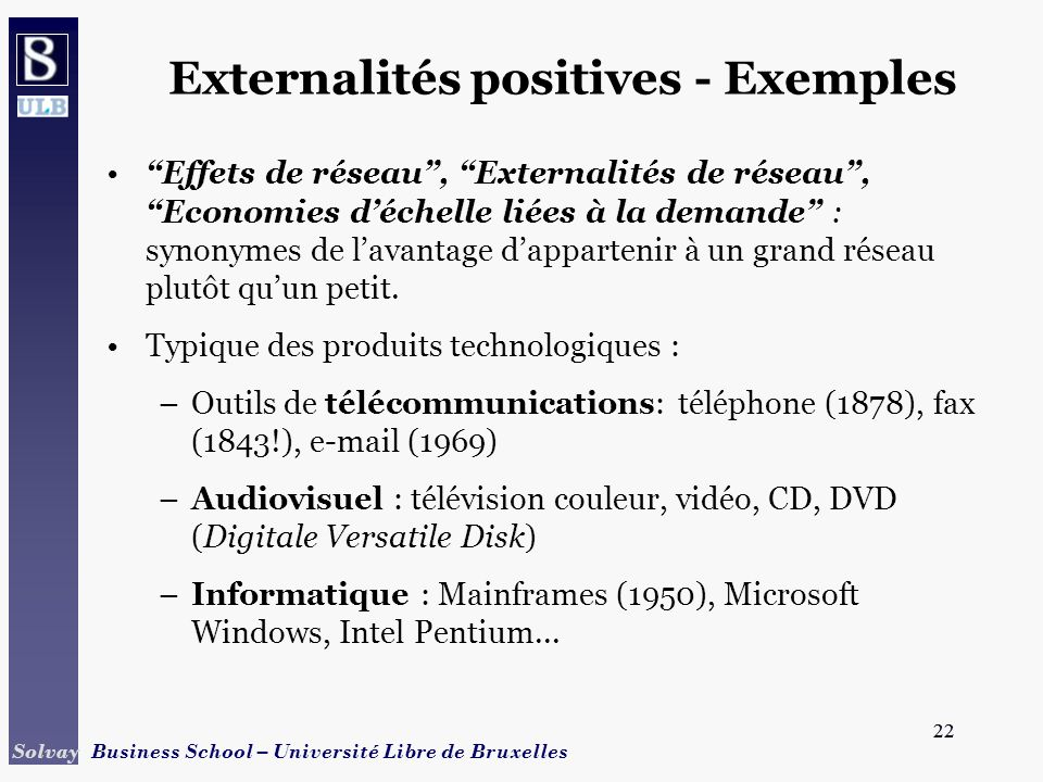 Externalités positives - Exemples