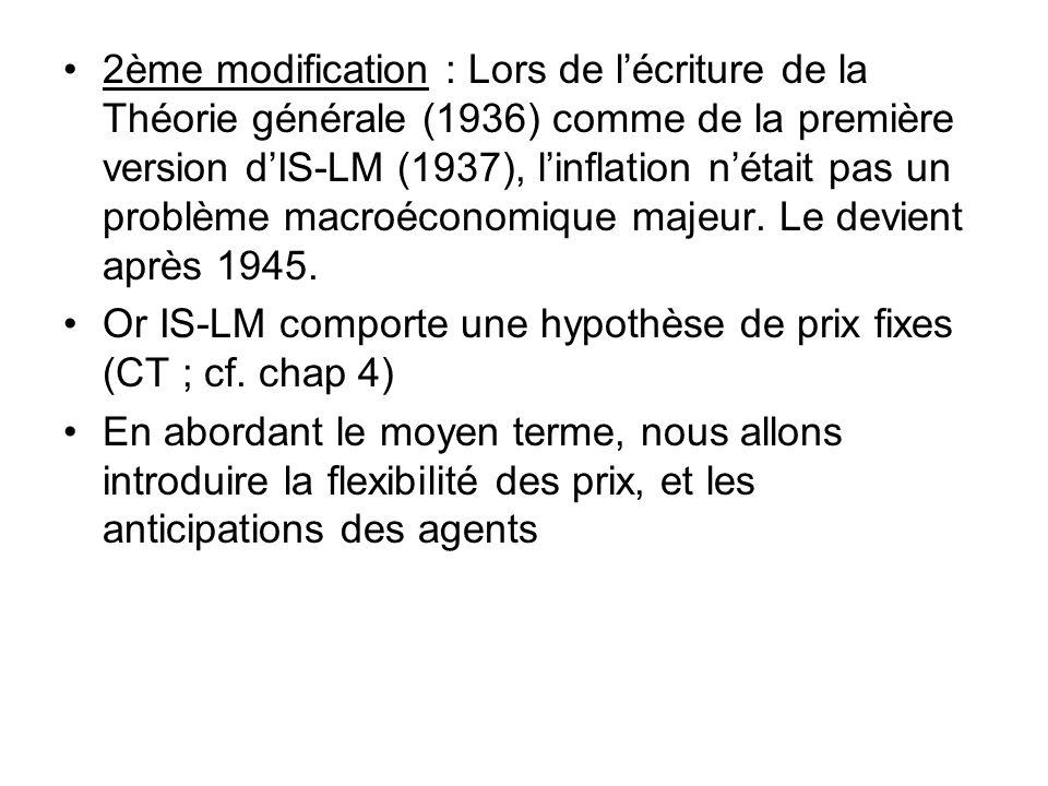 2ème modification : Lors de l'écriture de la Théorie générale (1936) comme de la première version d'IS-LM (1937), l'inflation n'était pas un problème macroéconomique majeur. Le devient après 1945.