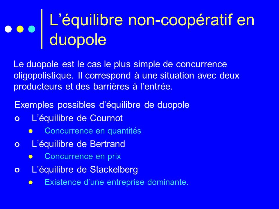L'équilibre non-coopératif en duopole
