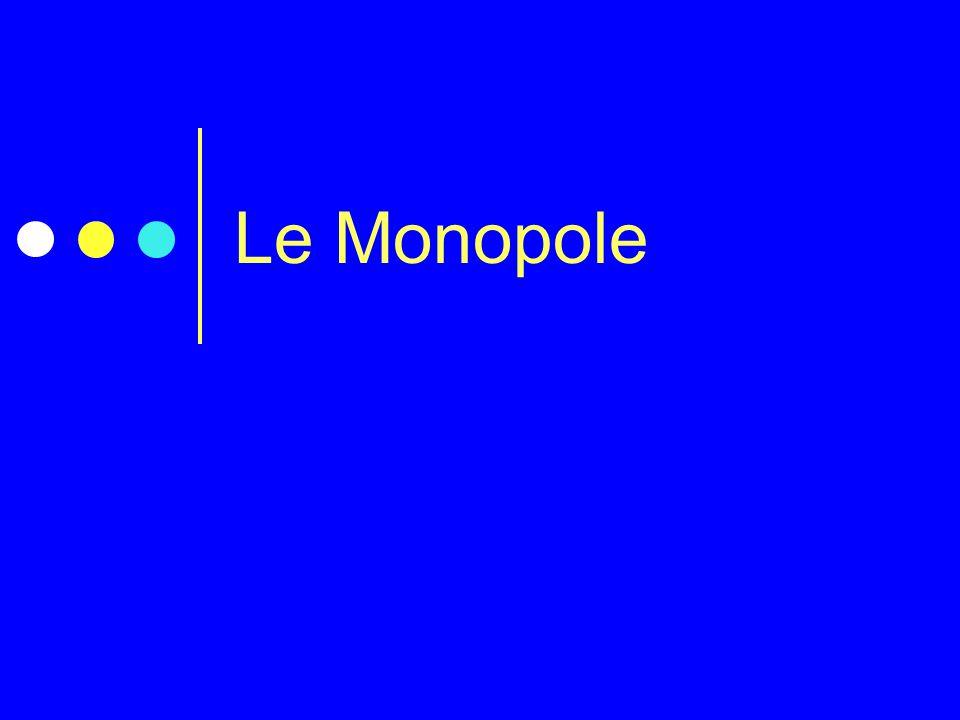 Le Monopole Donner l'objectif du cours : La question que l'on va se poser est :