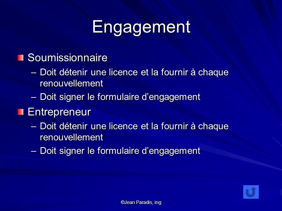 Engagement Soumissionnaire Entrepreneur