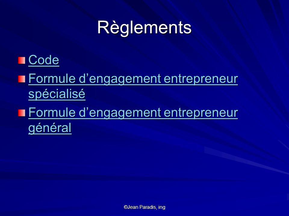 Règlements Code Formule d'engagement entrepreneur spécialisé