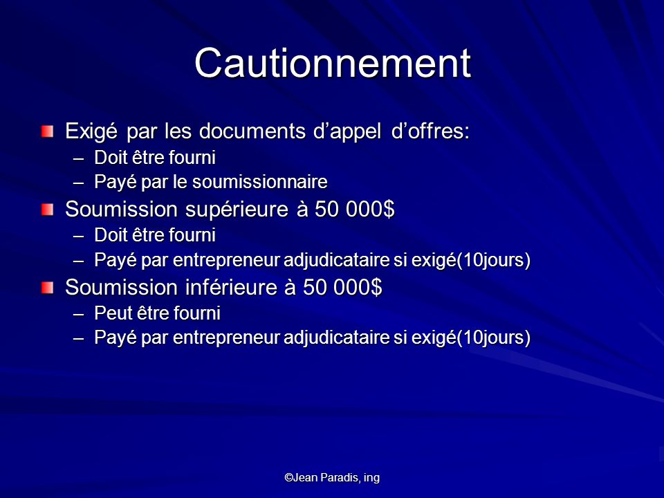 Cautionnement Exigé par les documents d'appel d'offres:
