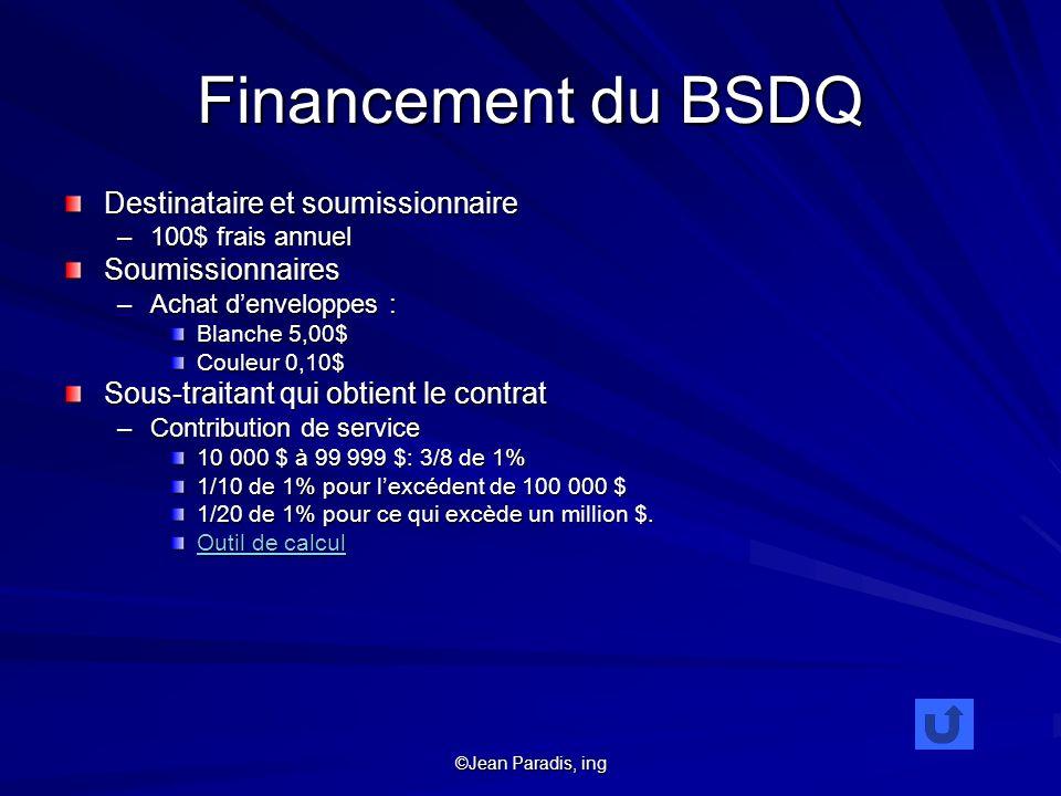 Financement du BSDQ Destinataire et soumissionnaire Soumissionnaires