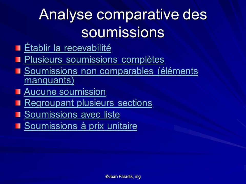 Analyse comparative des soumissions