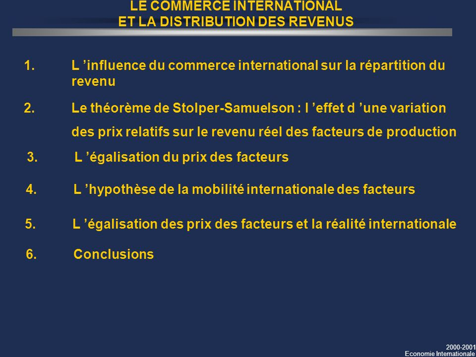LE COMMERCE INTERNATIONAL ET LA DISTRIBUTION DES REVENUS