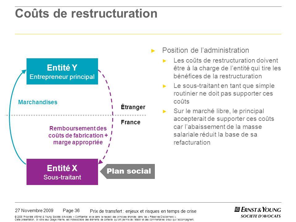 Coûts de restructuration