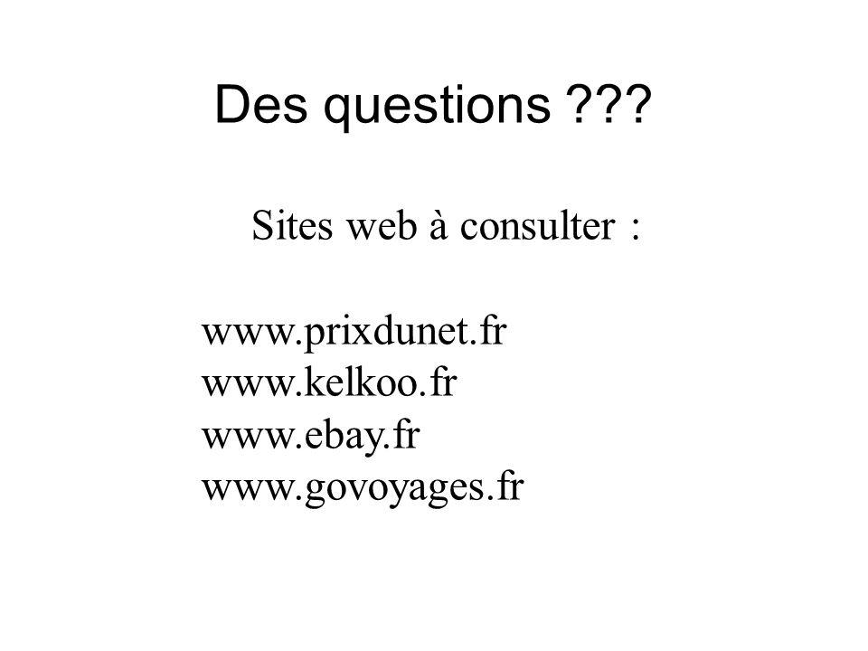 Des questions Sites web à consulter : www.prixdunet.fr