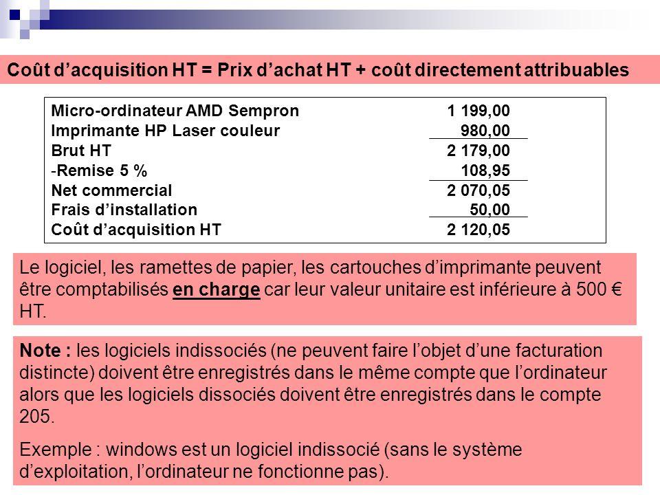 Coût d'acquisition HT = Prix d'achat HT + coût directement attribuables
