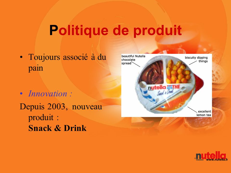 Politique de produit Toujours associé à du pain Innovation :