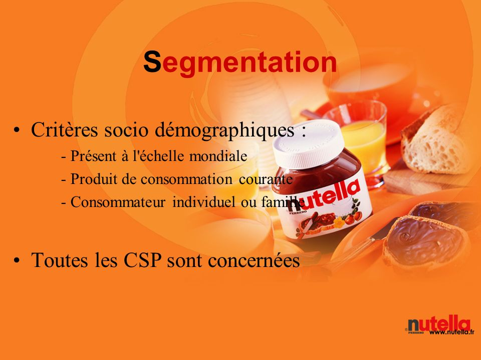 Segmentation Critères socio démographiques :