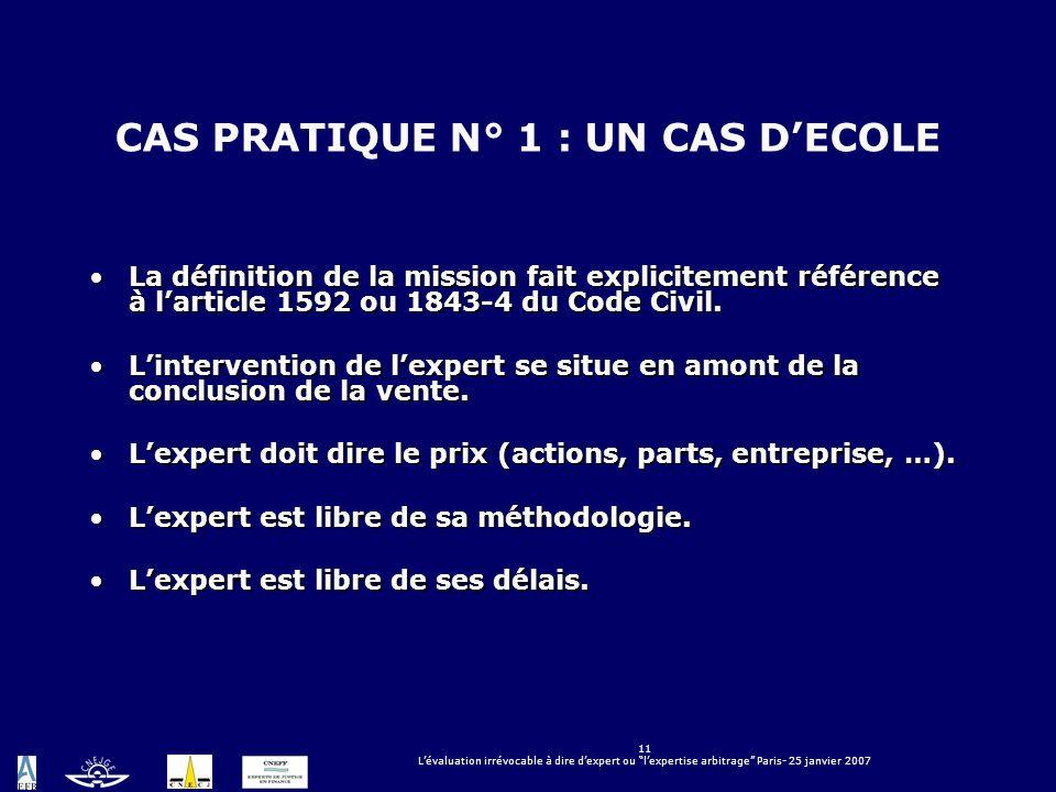 CAS PRATIQUE N° 1 : UN CAS D'ECOLE