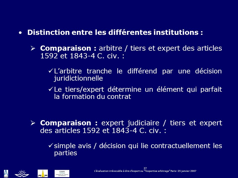 Distinction entre les différentes institutions :