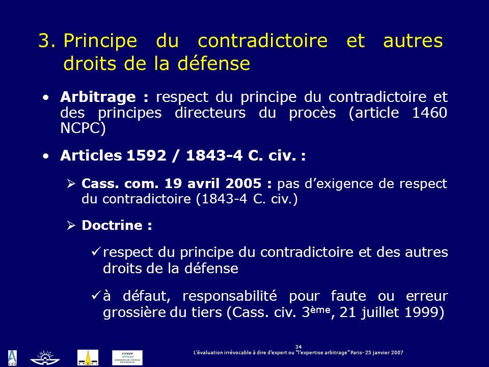 3. Principe du contradictoire et autres droits de la défense
