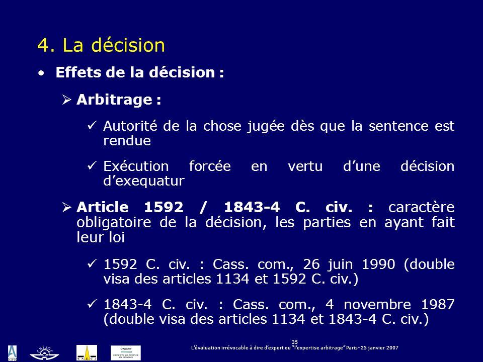 4. La décision Effets de la décision : Arbitrage :