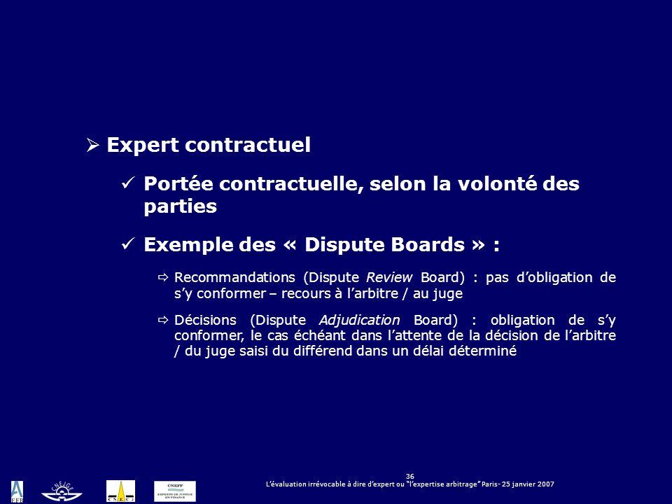 Expert contractuel Portée contractuelle, selon la volonté des parties
