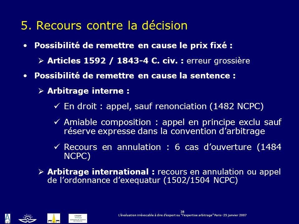 5. Recours contre la décision