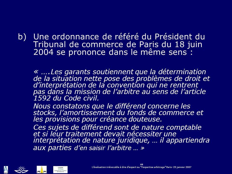 Une ordonnance de référé du Président du Tribunal de commerce de Paris du 18 juin 2004 se prononce dans le même sens :