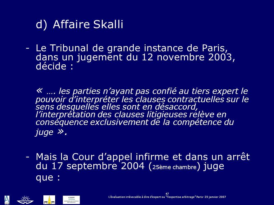 d) Affaire Skalli Le Tribunal de grande instance de Paris, dans un jugement du 12 novembre 2003, décide :