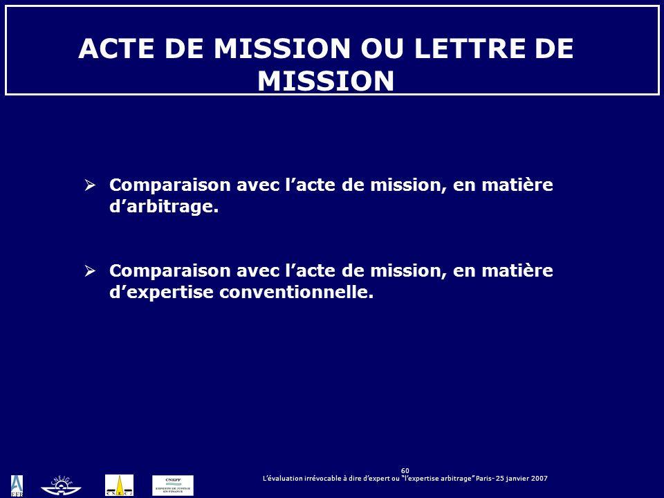 ACTE DE MISSION OU LETTRE DE MISSION
