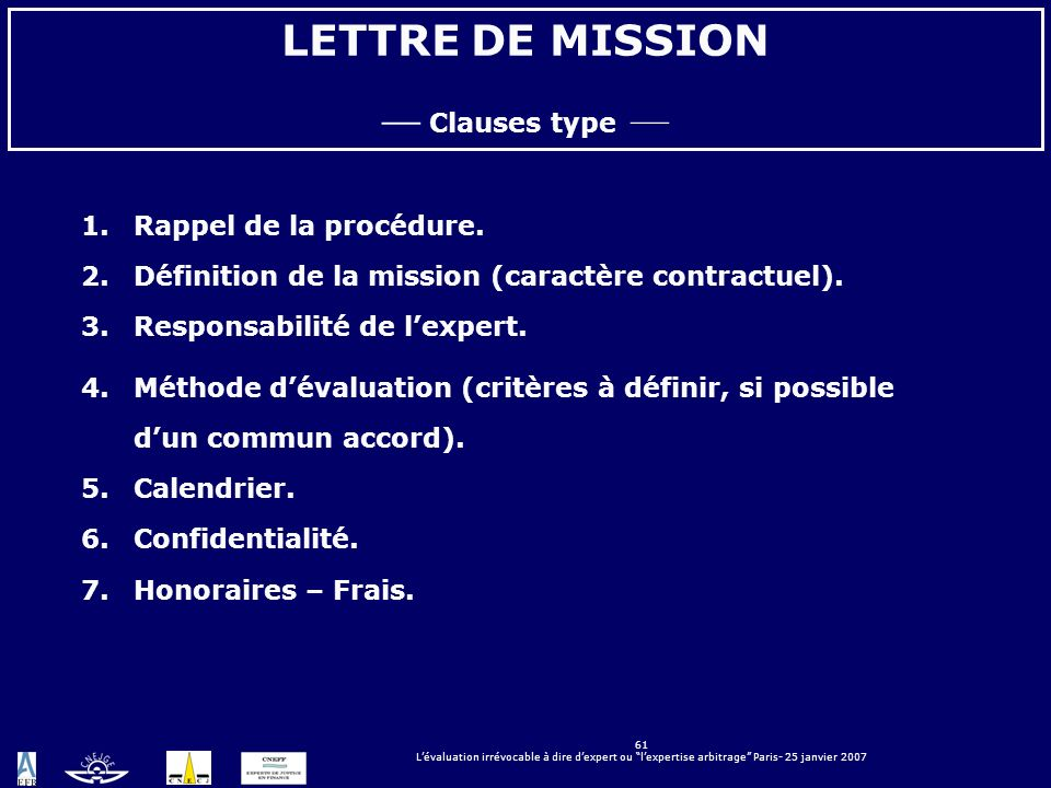 LETTRE DE MISSION — Clauses type — Rappel de la procédure.