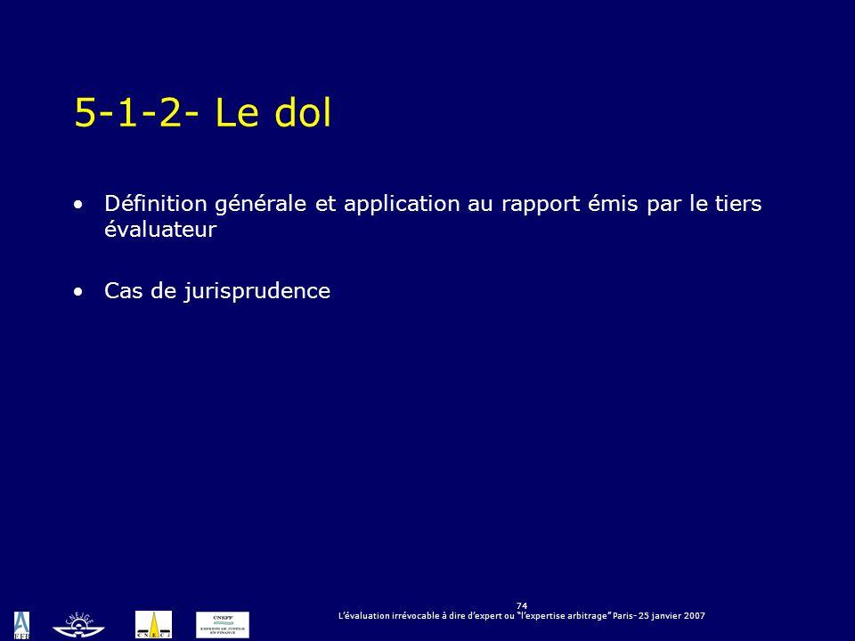 5-1-2- Le dol Définition générale et application au rapport émis par le tiers évaluateur. Cas de jurisprudence.