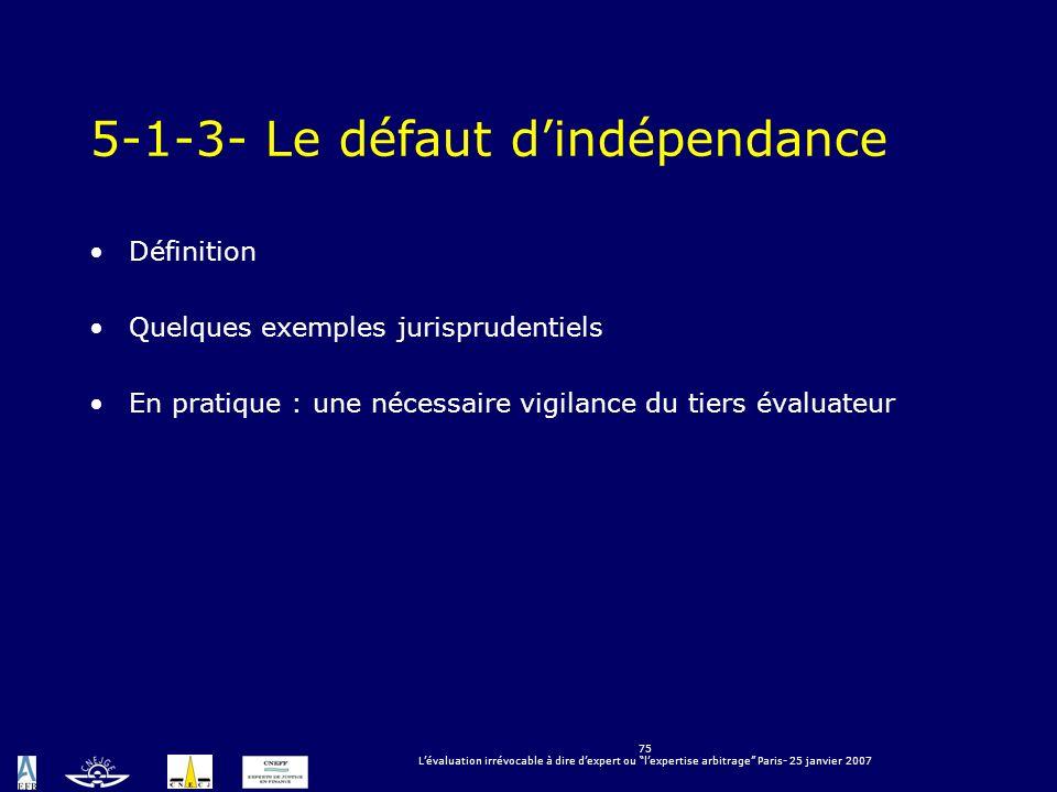 5-1-3- Le défaut d'indépendance