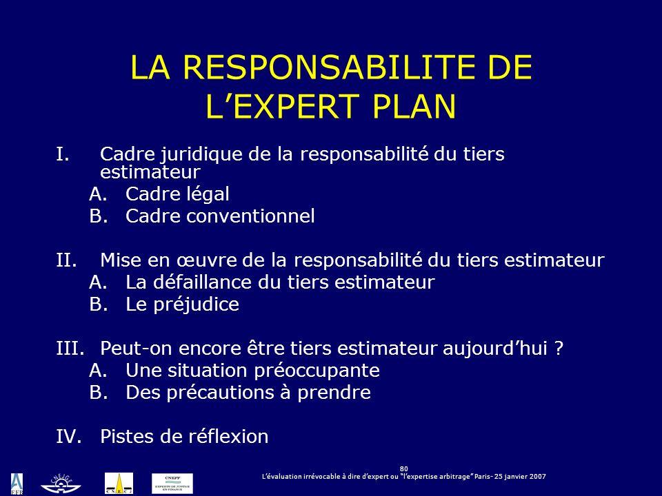 LA RESPONSABILITE DE L'EXPERT PLAN