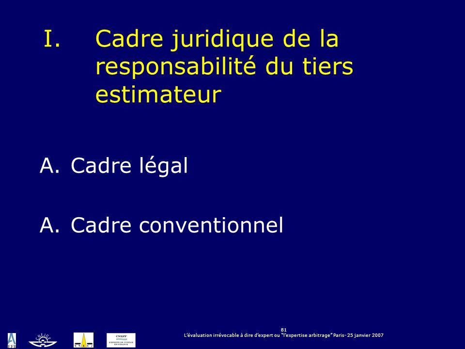 Cadre juridique de la responsabilité du tiers estimateur