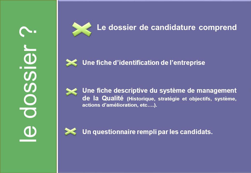 le dossier Le dossier de candidature comprend