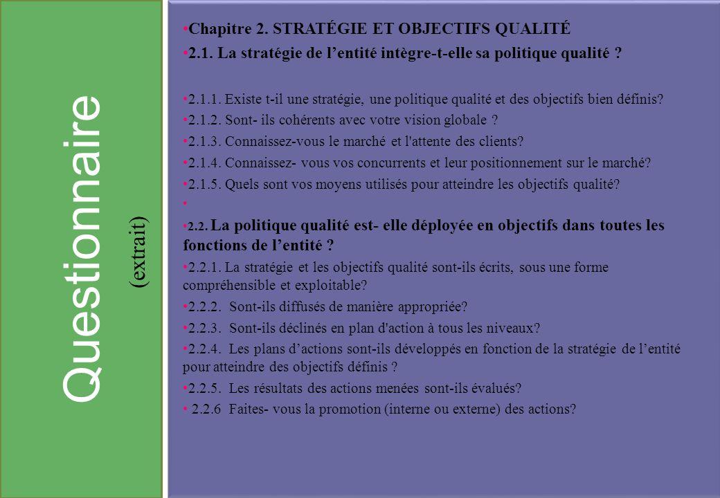 Questionnaire (extrait) Chapitre 2. Stratégie et objectifs qualité